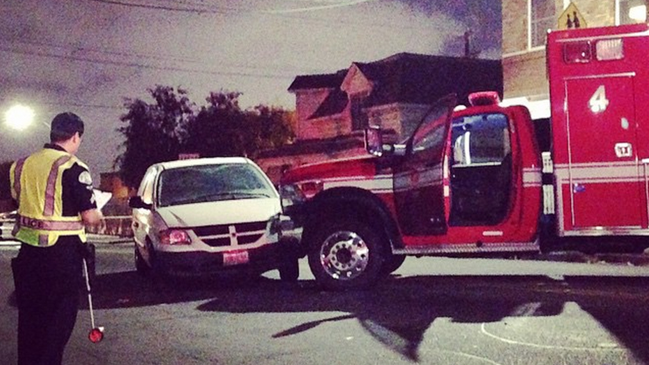 A patient stole an ambulance, then led police officers in a pursuit west of downtown Los Angeles on Sunday, Oct. 19, 2014.