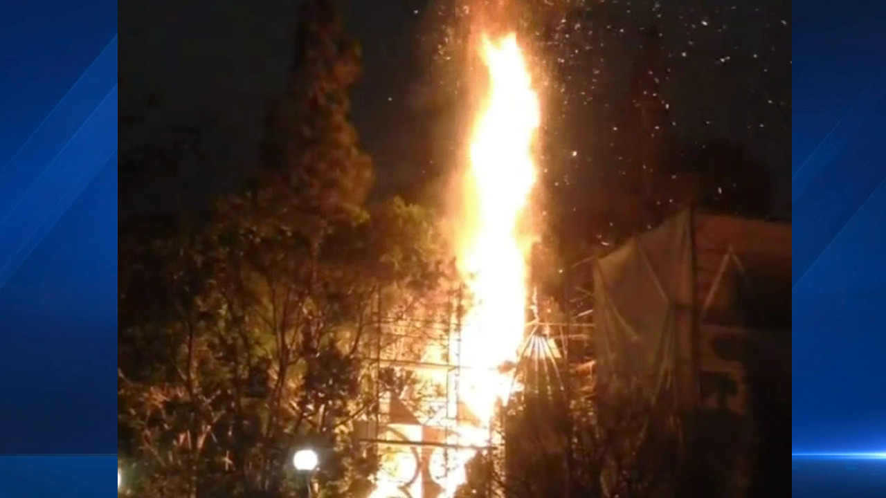 Instagram user Cabin Hawkins captured video of a fire that broke out at Disneyland on Saturday, Feb. 28, 2015.