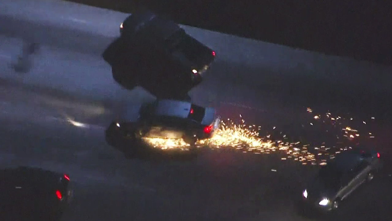A high-speed pursuit on the 405 Freeway near Marina del Rey ended when the driver crashed with two other vehicles on Saturday, April 4, 2015.