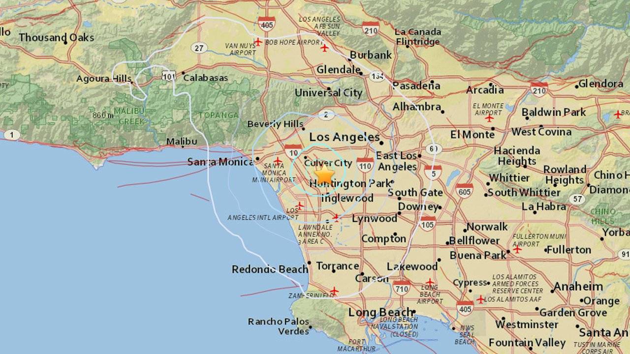 A preliminary magnitude-3.5 earthquake struck the Baldwin Hills area just hours after a 2.5-magnitude temblor jolted the area on Sunday, April 12, 2015.