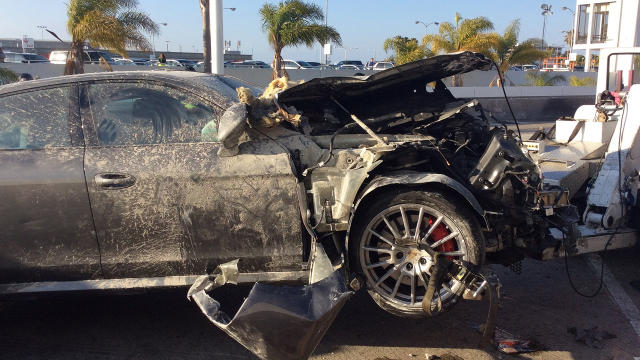 A Porsche plowed into a terminal at Los Angeles International Airport, injuring three people, on Sunday, May 31, 2015.