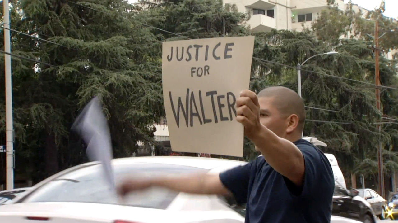 Family members, friends and supporters rallied Saturday, June 27, 2015, for Walter DeLeon, a father who was shot by LAPD officers in Los Feliz on June 19.