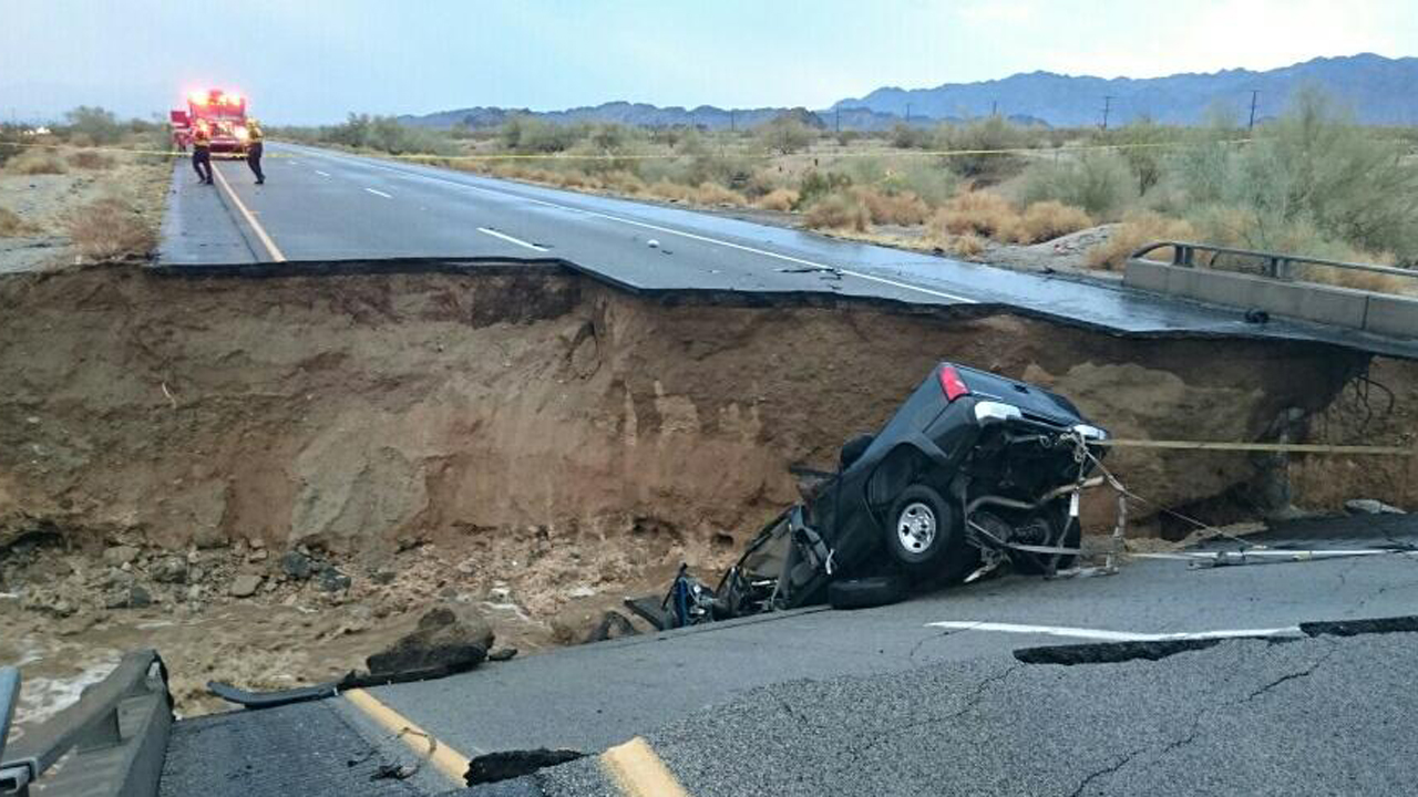 Part of a bridge collapsed on the 10 Freeway in Riverside County, trapping the driver and forcing the closure of both sides of the highway on Sunday, July 19, 2015.