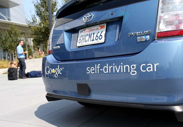 A Google self-driving car is displayed at the Google headquarters on Sept. 25, 2012 in Mountain View, Calif.