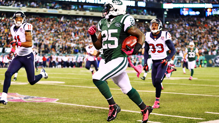 FILE: Joe McKnight #25 of the New York Jets returns a kickoff 100 yards for a touchdown in the third quarter against the Houston Texans at MetLife Stadium on Oct. 8, 2012 in East Rutherford.
