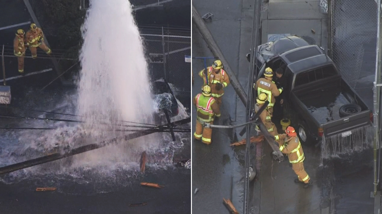 A driver who struck a power pole and sheared a fire hydrant in a crash in Montebello was rescued after being trapped inside his pickup truck, which had come to a stop on electrified water, on Tuesday, Jan. 12, 2016.