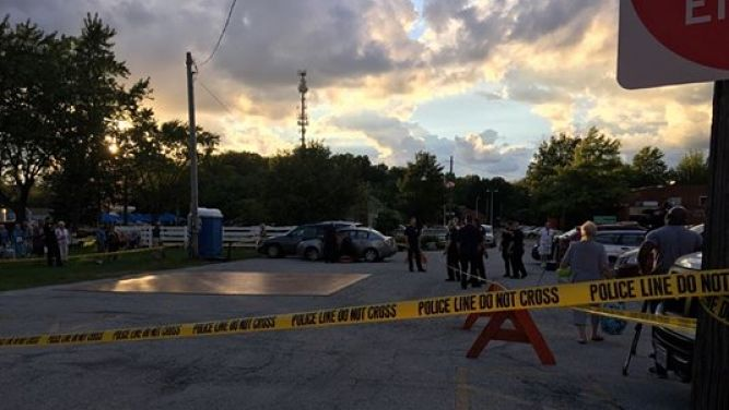 The scene of an accident near Cleveland, Ohio where a 74-year-old woman accidentally plowed into a dance floor injuring herself and eight other people Sunday night, August 21, 2016.