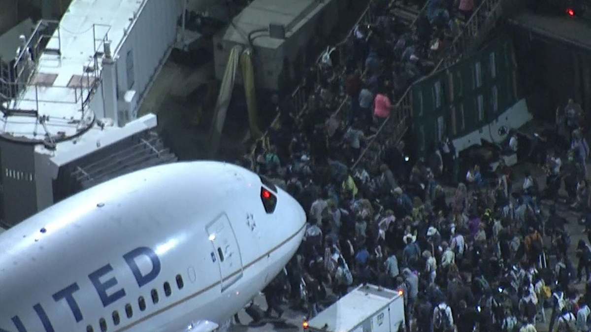 Passengers were evacuated from at least three terminals at the Los Angeles International Airport due to police activity on Sunday, Aug. 28, 2016.