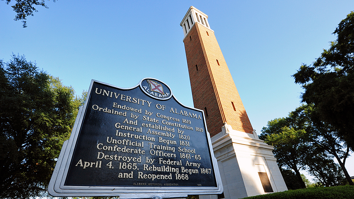 FILE - A view of the Denny Chimes on campus of the University of Alabama in 2012. An accounting student from Fort Worth was found dead Monday in a fraternity house at the university, school officials say.