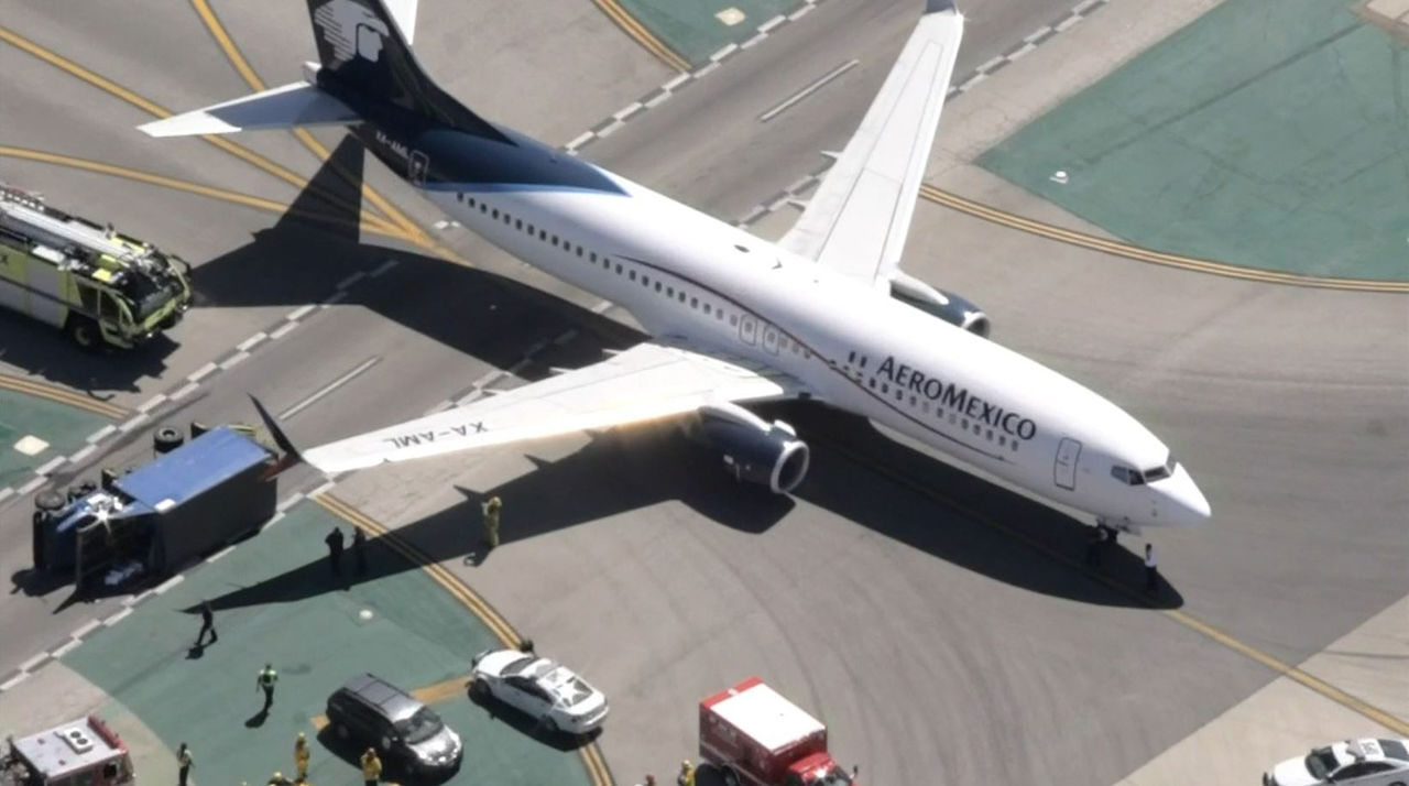 An Aeromexico plane collided with a utility truck on an LAX taxiway May 20, 2017, injuring eight people.