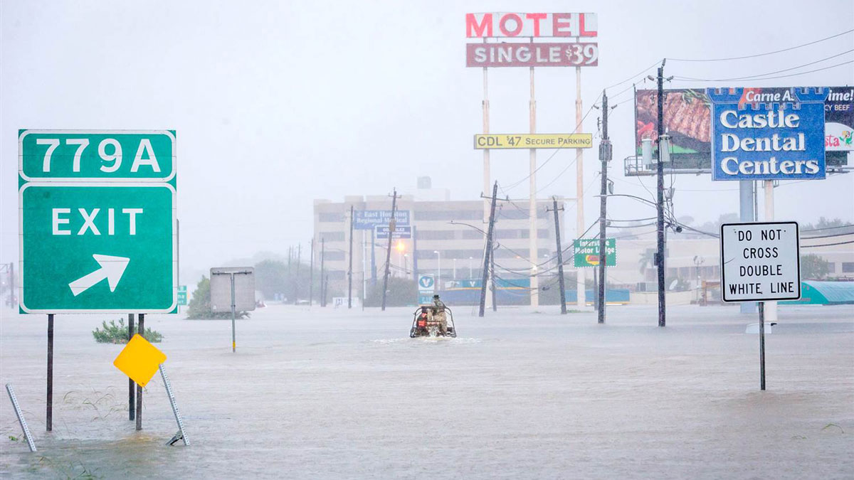 Members of the Cajun Navy, a Louisiana-based rescue team, heading out to look for victims of Tropical Storm Harvey on Tuesday, August 28, 2017 in Houston, Texas.