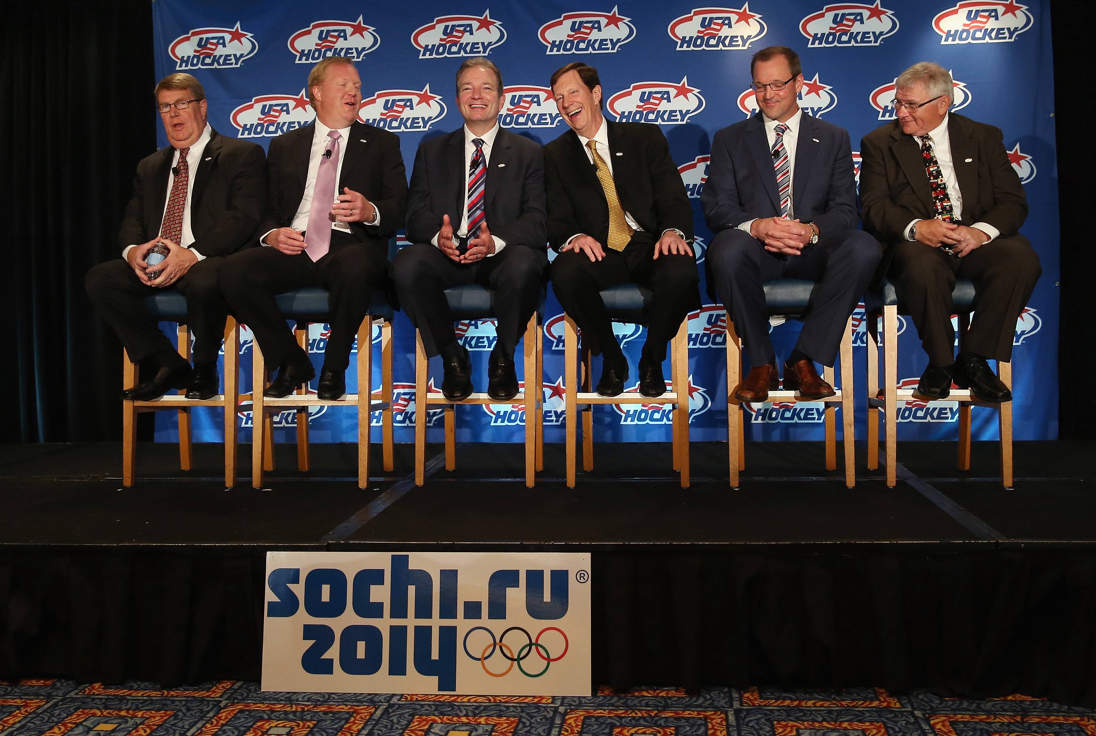 USA Hockey's Dave Ogrean, Jim Johanson, Ray Shero, David Poile, Dan Bylsma and Ron DeGregorio in June.