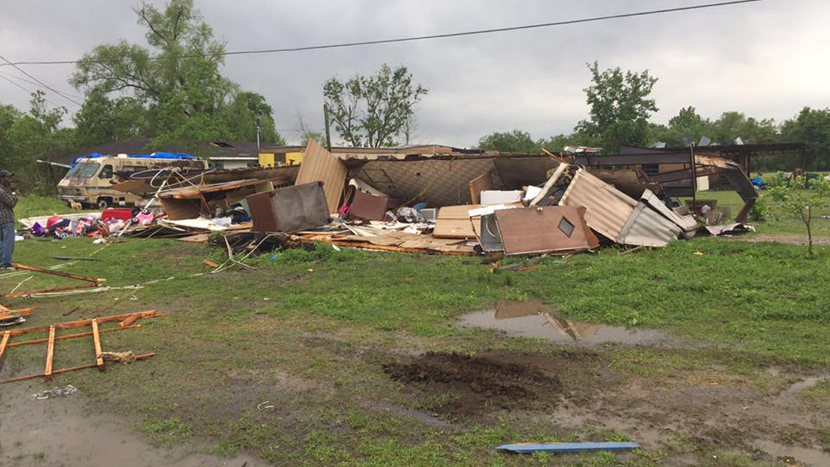 Storm damage in St. Martin's Parish, Louisiana, on Sunday April 2, 2017.