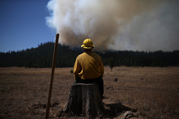 GROVELAND, CA - AUGUST 25:  U.S. Fish and Wildlife Service firefighter Corey Adams sits on a tree stump as he monitors the Rim Fire on August 25, 2013 near Groveland, California. The Rim Fire continues to burn out of control and threatens 4,500 homes outside of Yosemite National Park. Over 2,000 firefighters are battling the blaze that has entered a section of Yosemite National Park and is currently 7 percent contained.  (Photo by Justin Sullivan/Getty Images)