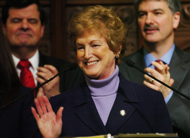Governor M. Jody Rell acknowledges a standing ovation as she begins her State of the State address in front of the legislature in 2009.
