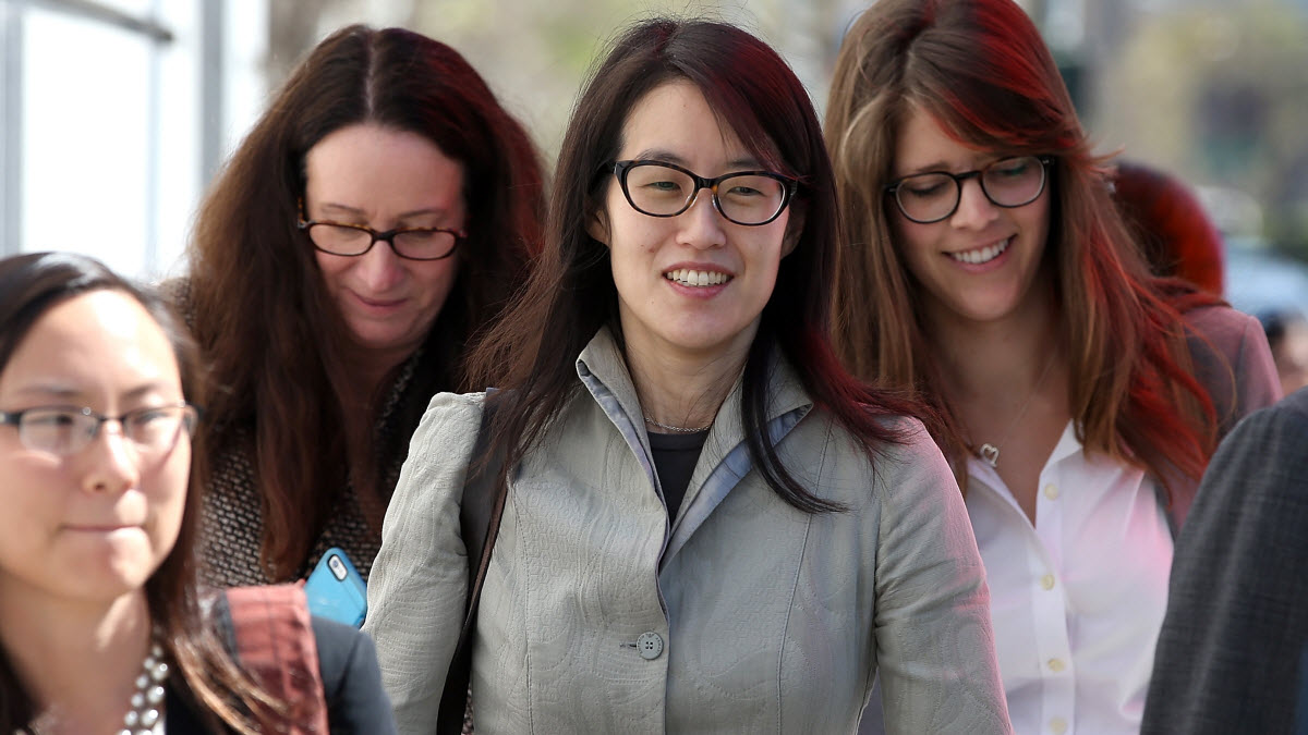 SAN FRANCISCO, CA - MARCH 25: Ellen Pao (C) leaves the San Francisco Superior Court Civic Center Courthouse with her legal team during a lunch break from her trial on March 25, 2015 in San Francisco, California. Reddit interim CEO Ellen Pao is suing her former employer, Silicon Valley venture capital firm Kleiner Perkins Caulfield and Byers, for $16 million alleging she was sexually harassed by male officials. (Photo by Justin Sullivan/Getty Images)