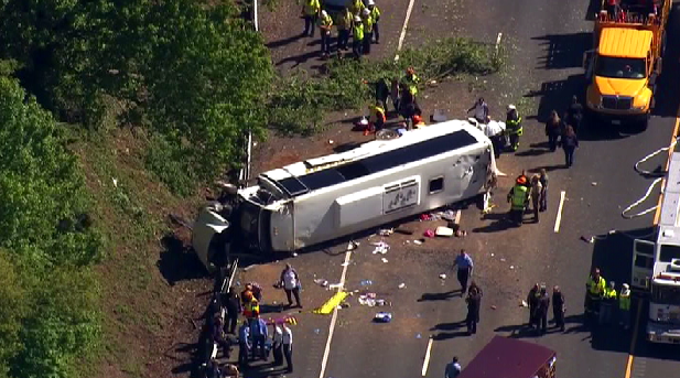 Maryland State Police say 26 children were on board a bus that overturned on Interstate 95 in northeastern Maryland.