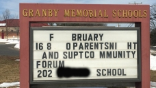 Racial Slur Found on Granby Memorial Schools Sign