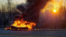 Massive Tanker Fire Causes Huge Mess on I-91 in Rocky Hill