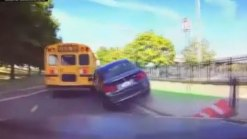 Video Shows BMW Crashing Into School Bus After Trying to Pass Car