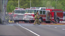 Firefighters Battle Huge Truck Fire on I-84