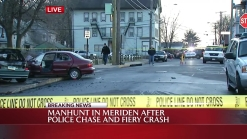 Manhunt in Meriden After Fiery Crash