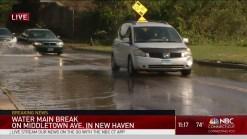 Water Main Break Floods Middletown Ave in New Haven