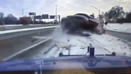 Dashcam Captures Unbelievable Crash on Highway as Car Goes Airborne, Nearly Misses Man's Head