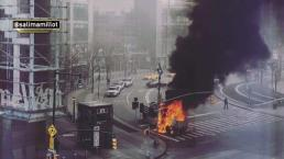 Dramatic Footage Shows Flaming NYPD Truck