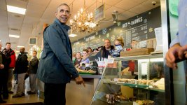 Obama Clears Out Cinnamon Rolls at Alaska Cafe