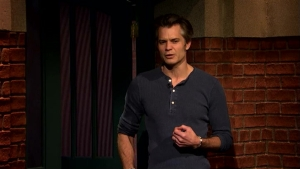 'Late Night': Olyphant Confronts Meyers