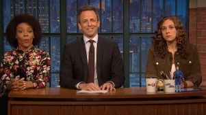 'Late Night': Jokes Seth Can't Tell About Penguins, Peach Emoji