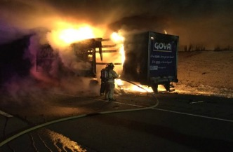 Tractor-Trailer Fire Caused Delays on I-84 in Tolland