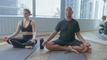 Ashley Learns the Yogi Way From Rap Mogul Russell Simmons