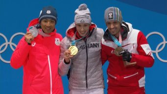Medal Ceremony: Eric Frenzel Receives Individual Normal Hill Gold