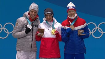 Medal Ceremony: Poland's Stoch Takes Large Hill Gold