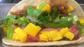 BBQ Pork Tacos with Mango and Pickled Red Onions