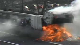 Garbage Truck Catches Fire on I-84 East in Hartford