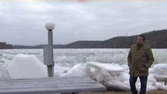 Massive Ice Slabs Wash Up Off CT River