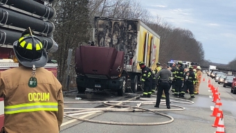 Truck Fire Caused Issues on I-395 South in Norwich