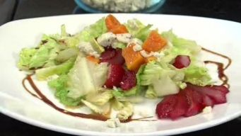 Poached Pear Salad with Blue Cheese and Red Wine Vinaigrette