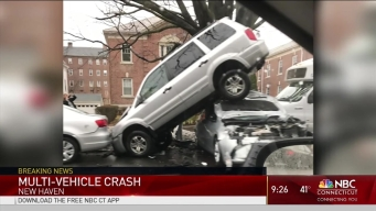 SUV Up in Air After New Haven Crash