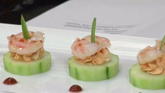 Sweet and Spicy Shrimp and Cucumber Bites