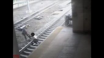 Caught on Cam: NJ Transit Officer Pulls Man Off Tracks Seconds Before Train Arrives
