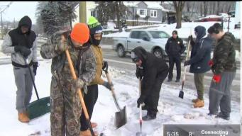 Waterbury Teens Clear Snow and Ice for Strangers