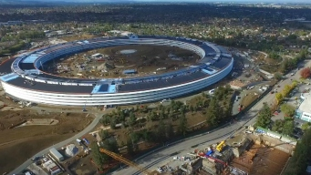 RAW: Drone Video of Apple's Spaceship Campus