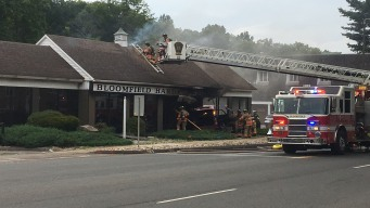 Car Crashes Into Building, Catches on Fire in Bloomfield