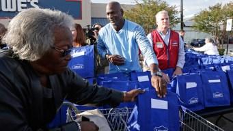 Michael Jordan Returns Home, Meets With Hurricane Victims