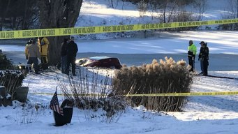 Stolen Car Ends up Submerged in Icy Milford Pond