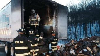 Truck Fire Closes I-84 East in Tolland